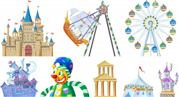 playground design elements castles clown circus games icons