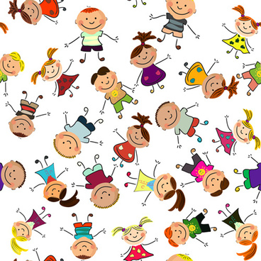 playing children cartoon vector set