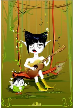 playing guitar monster vector