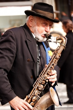 playing saxophone