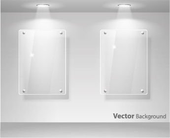 plexiglass window glass exhibition spotlights vector
