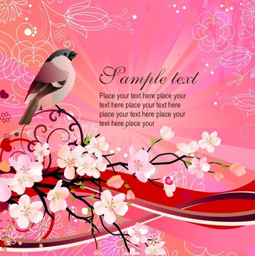 spring background bird cherry blossom decor