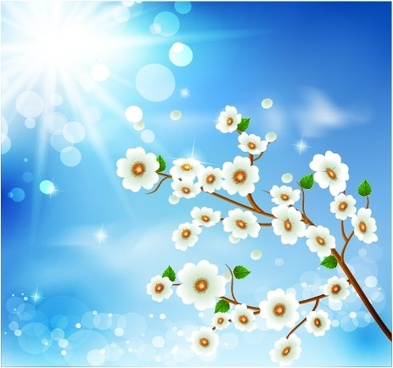 spring background blooming flora sunlight decor modern design