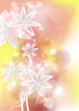 points of light background with flowers vector set