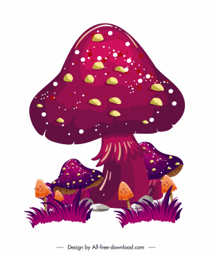 poison mushroom painting dark colorful sketch