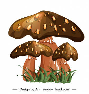 poisonous mushroom icon shiny brown design