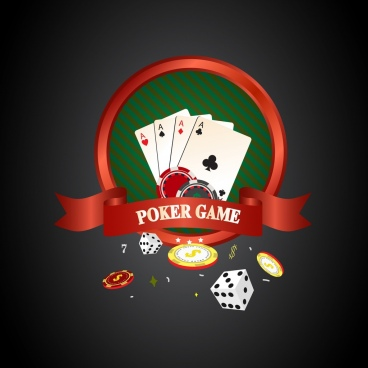 poker background 3d design red ribbon cards decoration
