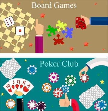 poker board gambling games banner with colorful design
