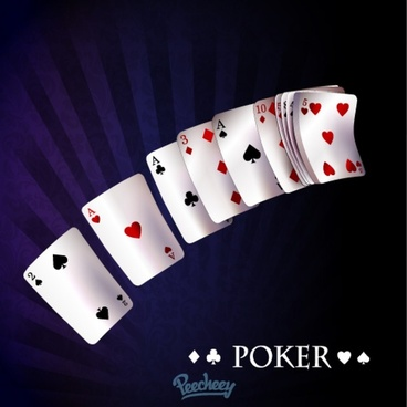 poker cards flying through the air illustration