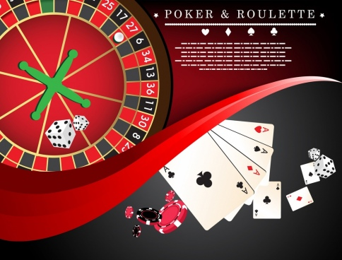 poker roulette background card cubes wheel icons decoration