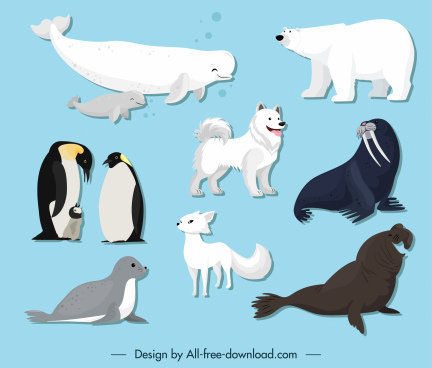 polar animals icons cute cartoon sketch