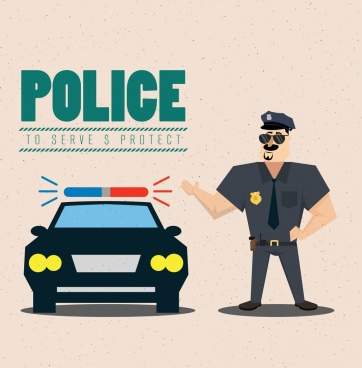 police advertising banner colored cartoon design