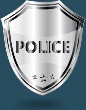 police badge template shiny grey shield shape