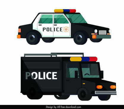 police car icons modern colored design 3d sketch