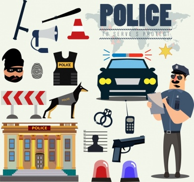 police design elements accessories icons colored cartoon