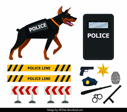 police design elements dog weapon barrier sketch