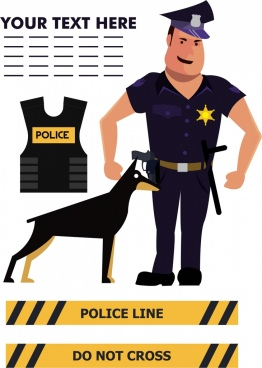 police design elements man dog tools icons