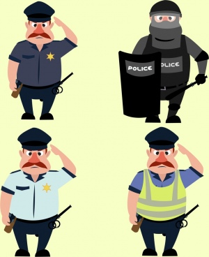 police icons collection various costumes colored cartoon