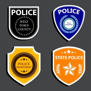 police logotypes various flat rounded design