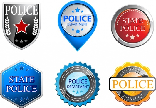 police medal collection various shiny colored shapes