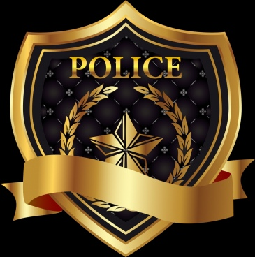 police shield icon 3d shiny golden decoration