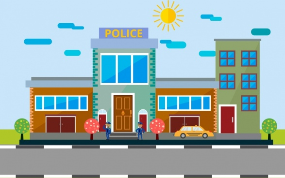 police station facade design colored cartoon decor