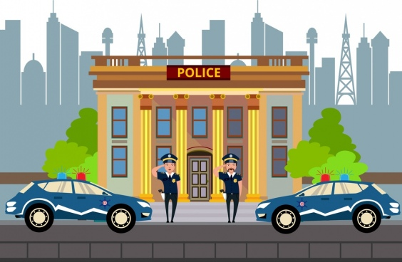 police station facade design officers car icons decoration