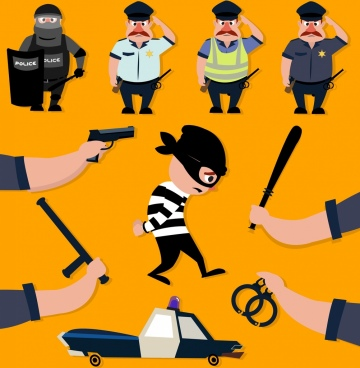 police teamwork design elements criminal tools colored cartoon