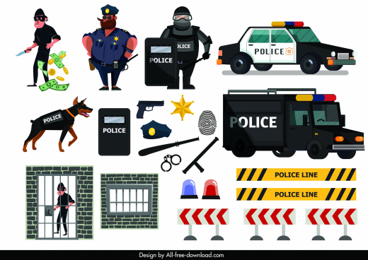 police work design elements cartoon characters objects sektch