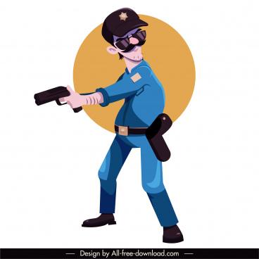 policeman icon dynamic sketch cartoon character