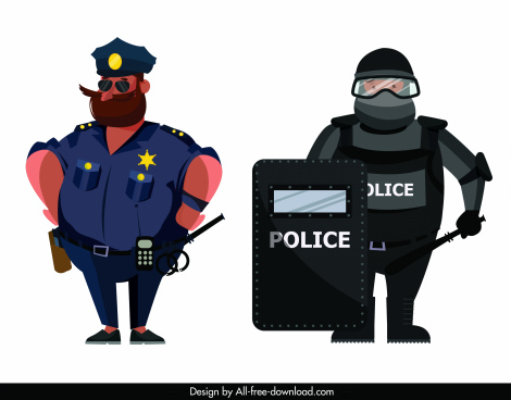 policeman icon uniform sketch cartoon characters
