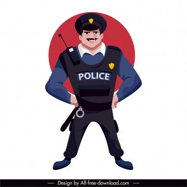 policeman icon uniformed man sketch cartoon character