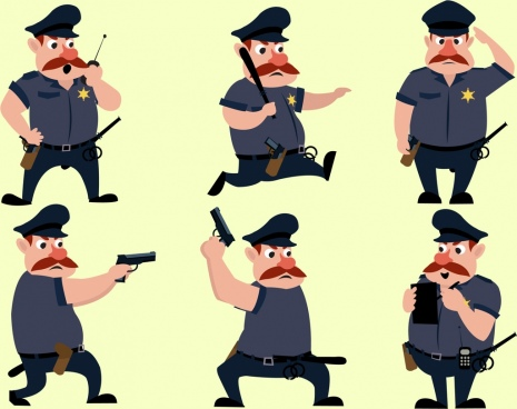 policeman icons collection various gestures cartoon design