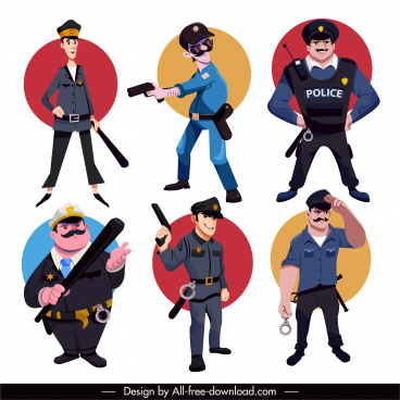 policeman icons funny cartoon characters sketch