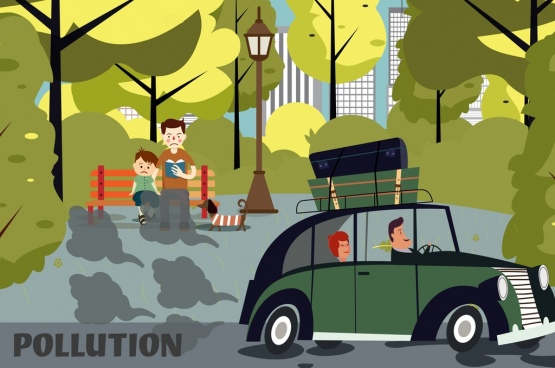 pollution background car people park smoke icons