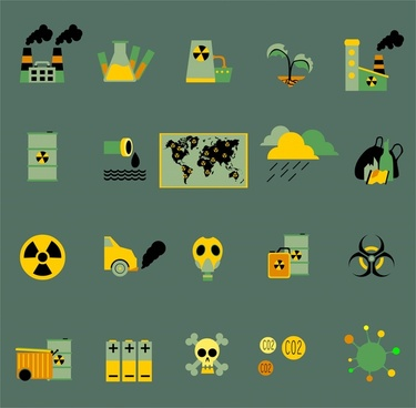 pollution concept icons illustration with colored symbols
