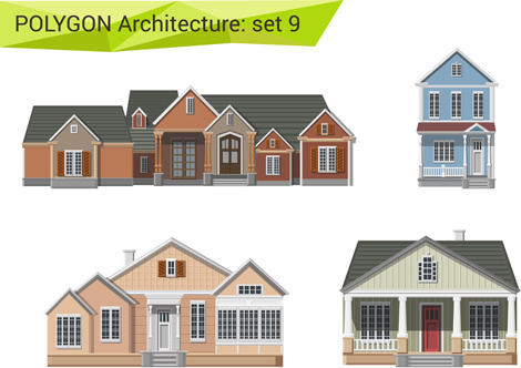polygonal architecture design vector set