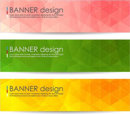 polygonal modern banner vector set