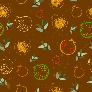 pomegranate background flat dark design repeating sketch