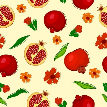 pomegranate background multicolored repeating decoration