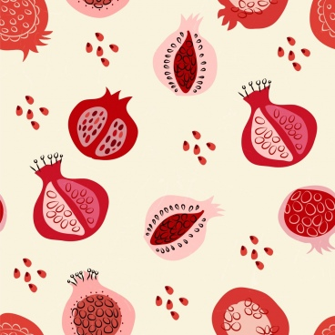pomegranate background red repeating handdrawn decoration