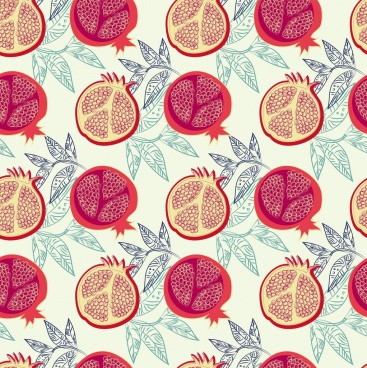 pomegranate background slice leaves icons repeating sketch