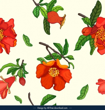 pomegranate flowers pattern colorful classical design