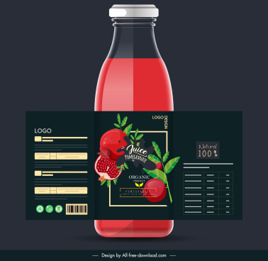 pomegranate juice bottle template modern elegant dark decor