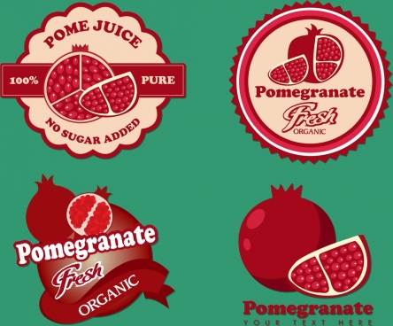 pomegranate logotypes isolation various shapes red design
