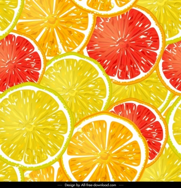 pomelo slices pattern bright yellow red circles decor