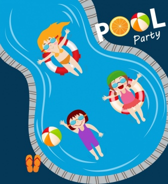 pool party banner joyful kids swimming pool icons