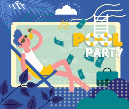 pool party banner rich relaxed man icon