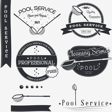 pool service logos with labels black vector