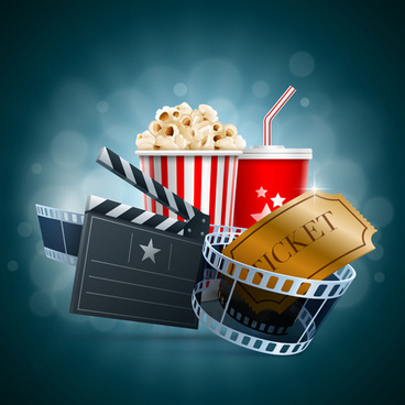 popcorn with film elements vector background